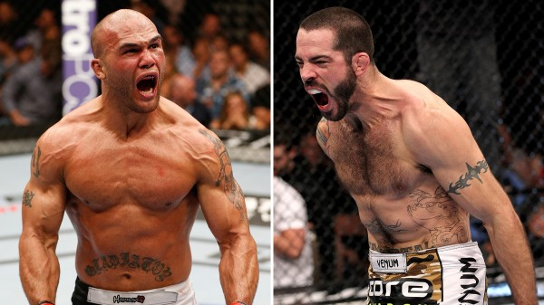 robbie lawler screaming with matt brown for official ufc rankings