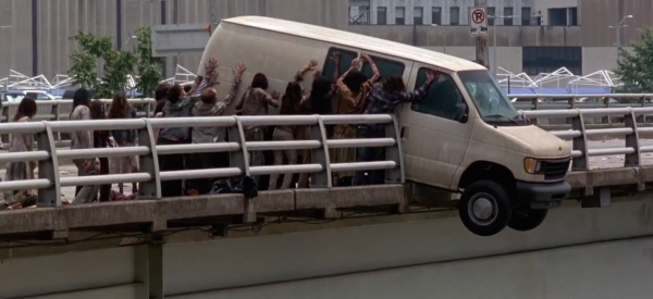 zombies attack van with carol and darryl the walking dead season 5 images