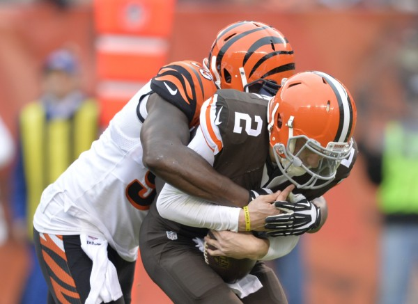 bengals sack johnny manziel in cleveland browns upset nfl images
