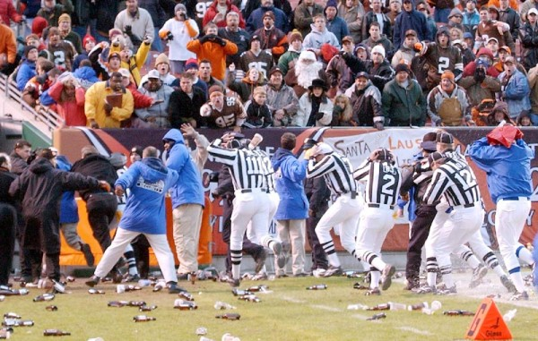 cleveland bengals fans throw beer bottles on nfl field images