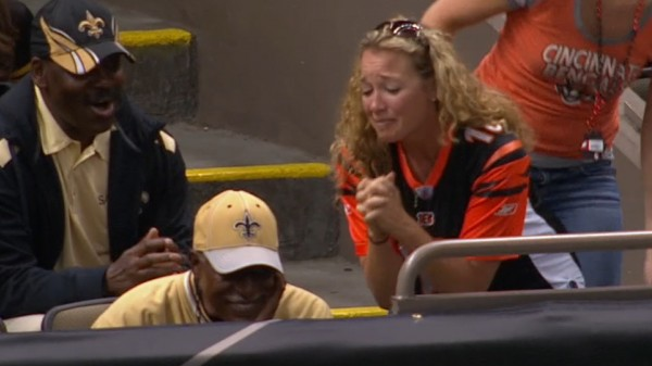 saints fan steal football nfl from bengals female fan