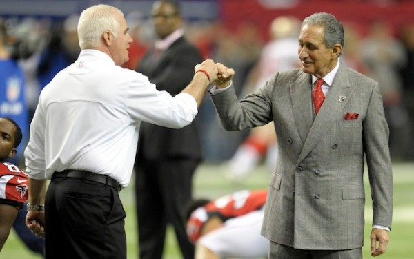arthur blank with atlanta falcons head coach mike smith 2014