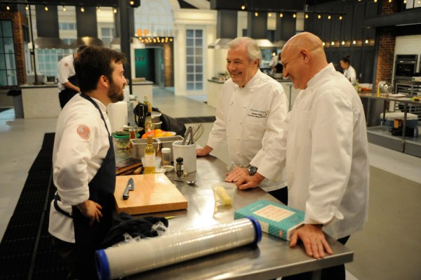 george talking fois gras with jacques pepin on top chef boston 2015