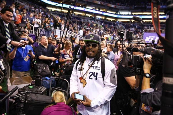 marshawn lynch seattle seahawks challenges media for super bowl week 2015