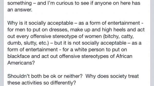 mary cheney facebook comments on drag blackface