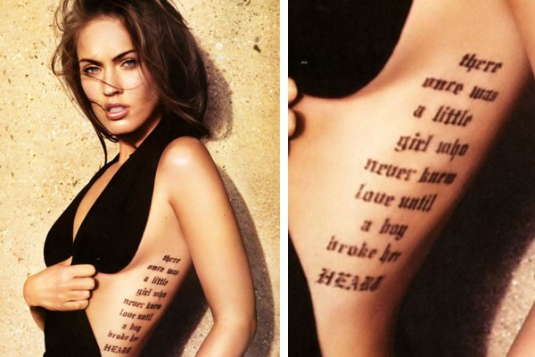 megan fox back tattoos craziest celebrities 2015 images