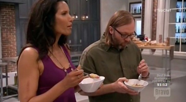 padma eating gregory gourdet out for top chef boston 2015