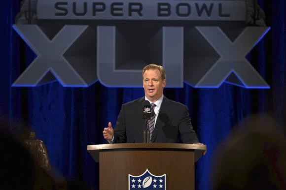 roger goodell talking at reporters for xlix state of the nfl address