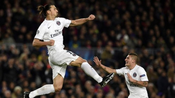 Zlatan Ibrahimovic rising to france ligue 1 soccer 2015 images