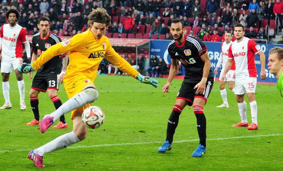 bayer vs augsburg striker hits soccer 2015 images