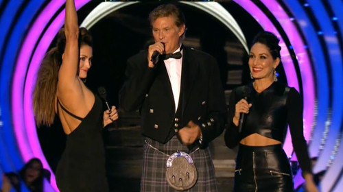 bella twins mtv awards with david hasselhoff total divas 2015