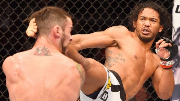 benson henderson kicks brandon thatch in head for ufc fight 60 2015