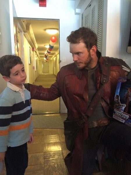 chris pratt star lord touching child shoulder for super bowl bet