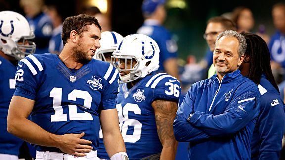 colts andrew luck with coach chuck pagano images 2015