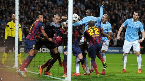 manchester city vs barcelona champions leagues 2015 images soccer