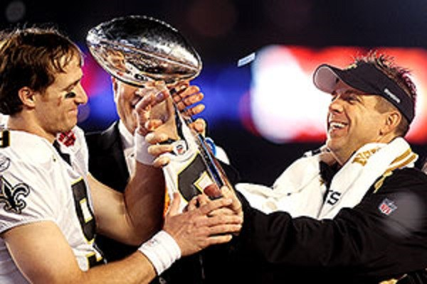 new orleans saints sean payton with drew brees super bowl win 2015