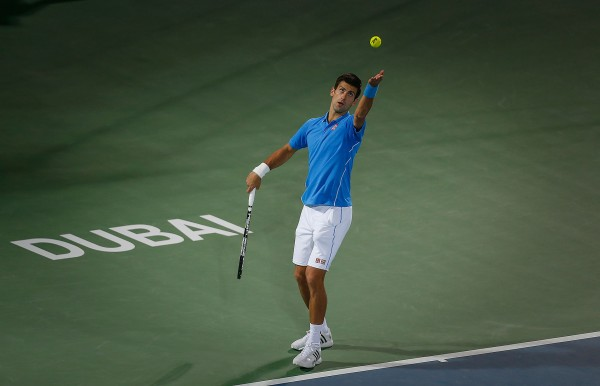 novak djokovic serving balls to borna coric dubai tennis 2015