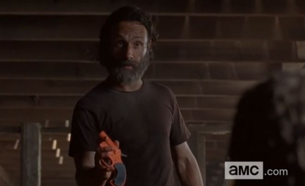 rick grims finds aarons flare gun walking dead 2015