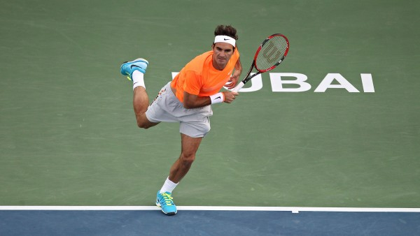 roger federer serves to borna boric dubai tennis semis 2015