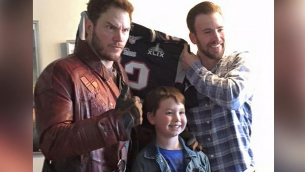 star lord chris pratt with chris evans super bowl