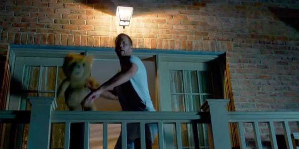 tom brady throwing ted 2 over balcony for mark wahlberg