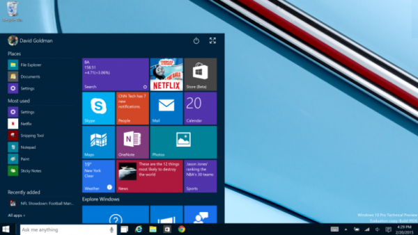 windows 10 tech preview start menu images 2015