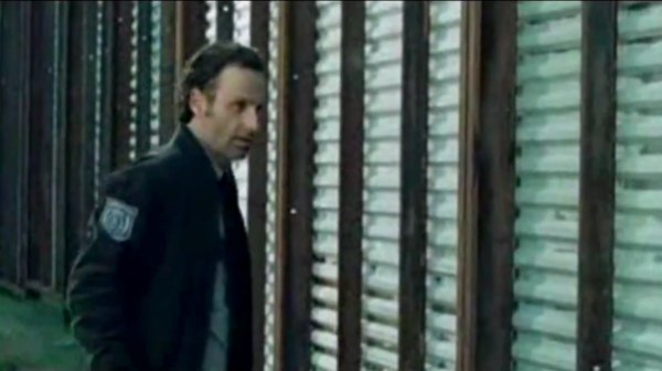 creepy rick grimes listening to zombie in the walking dead 2015