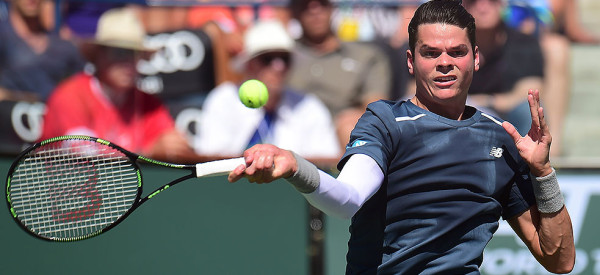 milos raonic takes on roger federer in indian wells semi finals 2015