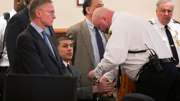 aaron hernandez being cuffed again after guilty verdict 2015