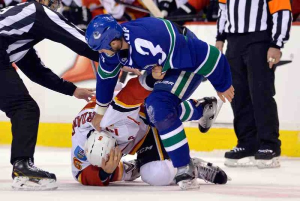calgary flames beat vancouver canucks nhl hockey 2015