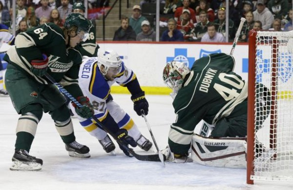 devan dubnyk helps minnesota wild beat blues nhl stanley cup playoffs 2015