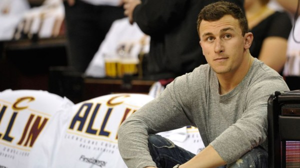 johnny manziel at cleveland cavaliers game after rehab 2015