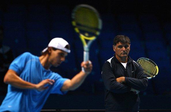 toni nadal with nephew rafael practise tennis 2015
