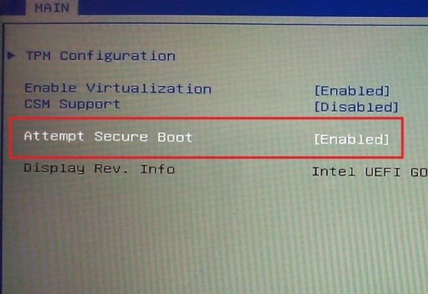windows 10 secure boot option to disable 2015