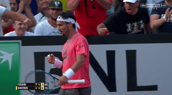 fabio fognini beats off grigor dimitrov 2015 rome masters open