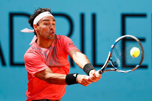fabio fognini returning to grigor dimitrov 2015 rome masters open