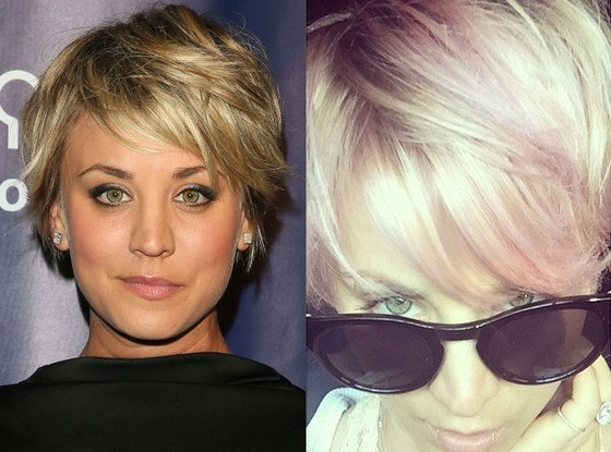 kaley cuoco sweeting pink hair 2015 gossip