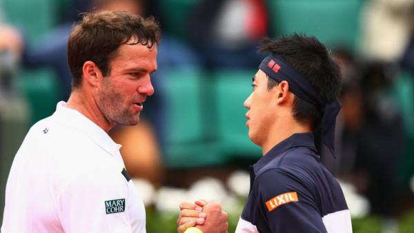 kei nishikori beats taymuraz gabashvilli 2015 french open