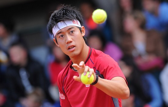 kei nishikori getting balls at 2015 french open