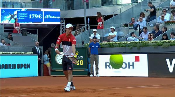 kei nishikori serves to andy murray 2015 madrid open