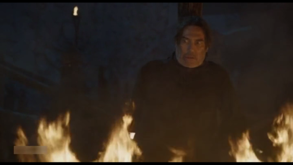 mancy rayder burned alive on game of thrones with john snow 2015
