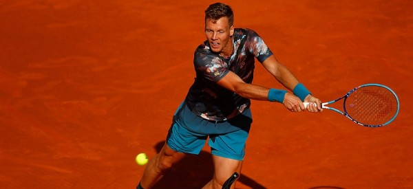 tomas berdych works rafael nadal balls for 2015 madrid open