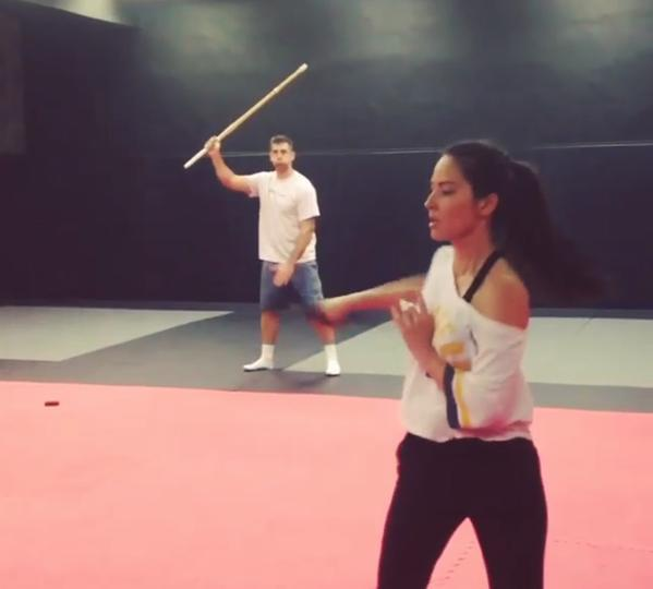 aaron rodgers olivia munn sword play 2015