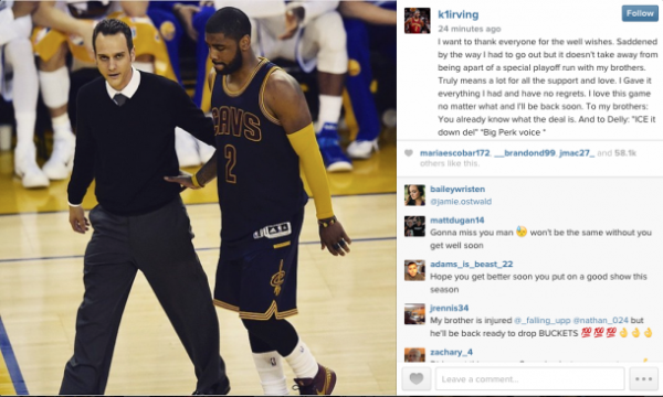 kyrie irving tweet after knee injury cleveland cavaliers 2015 nba