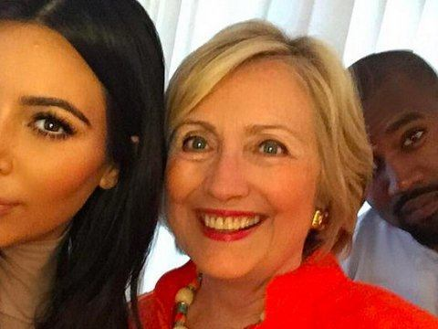 kim kardashian with hillary clinton kanye west 2015 gossip