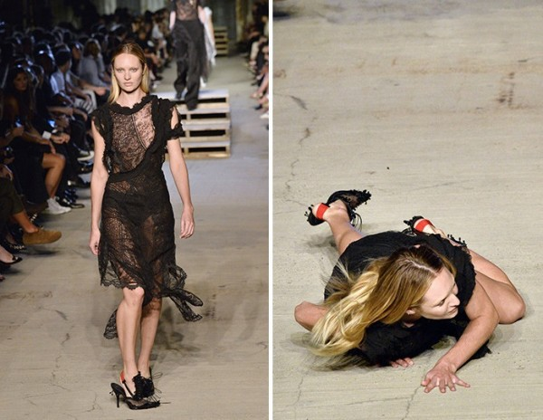 fashion week tumble candice swanepoel falls on givenchy runway gossip