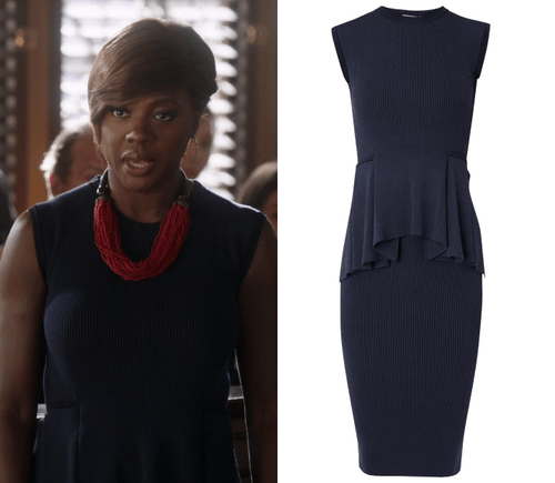 htgawm annalise black peplum dress 2015