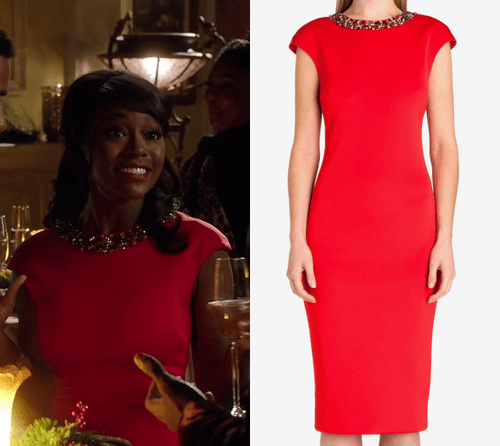 htgawm michaela red dress 2015