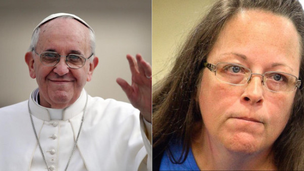 pope francis supports kim davis 2015 gossip