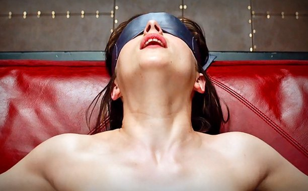 fifty shades of grey dakota johnson blindfolded images 2014